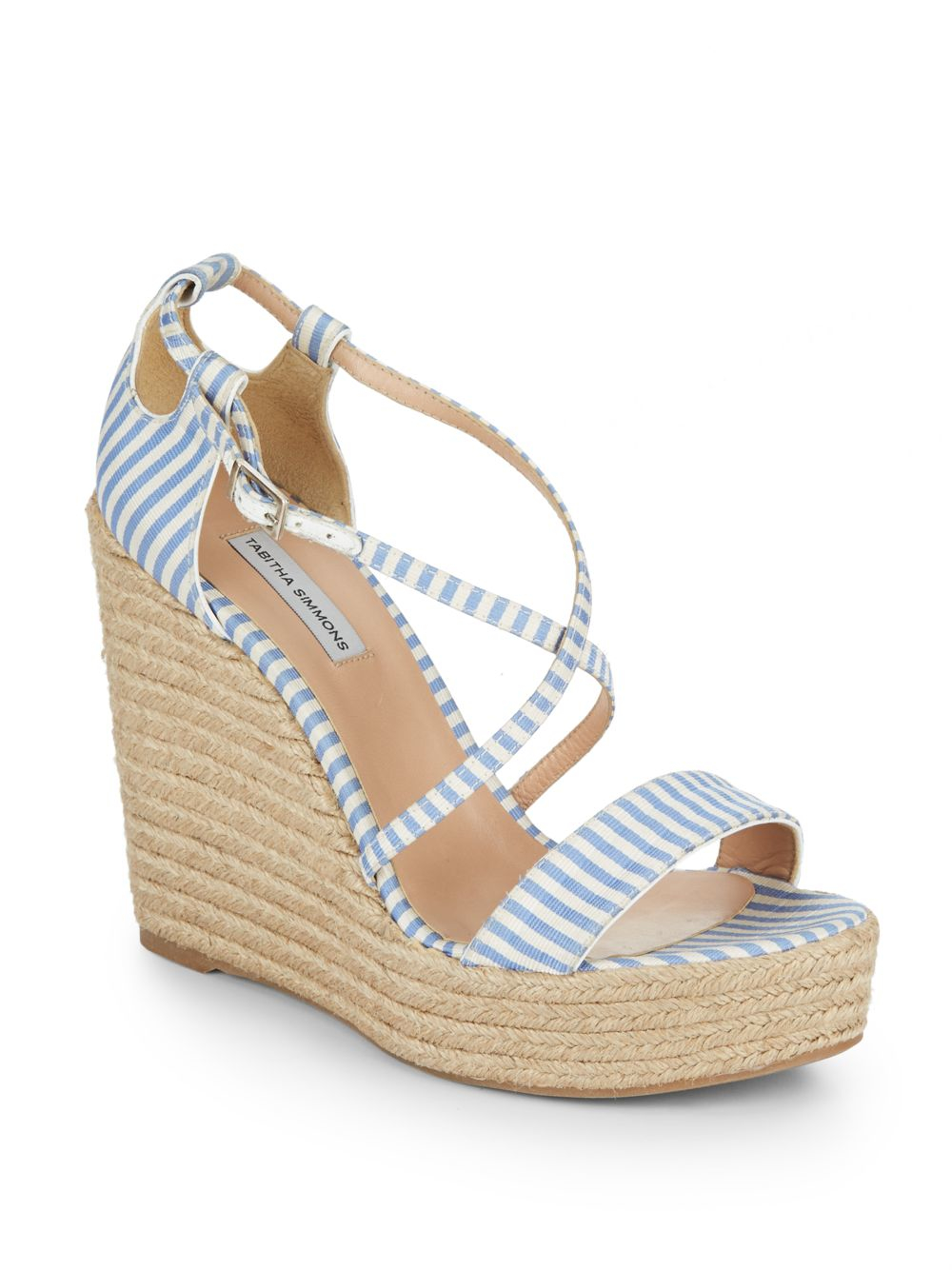 simmons striped espadrille wedge sandals in