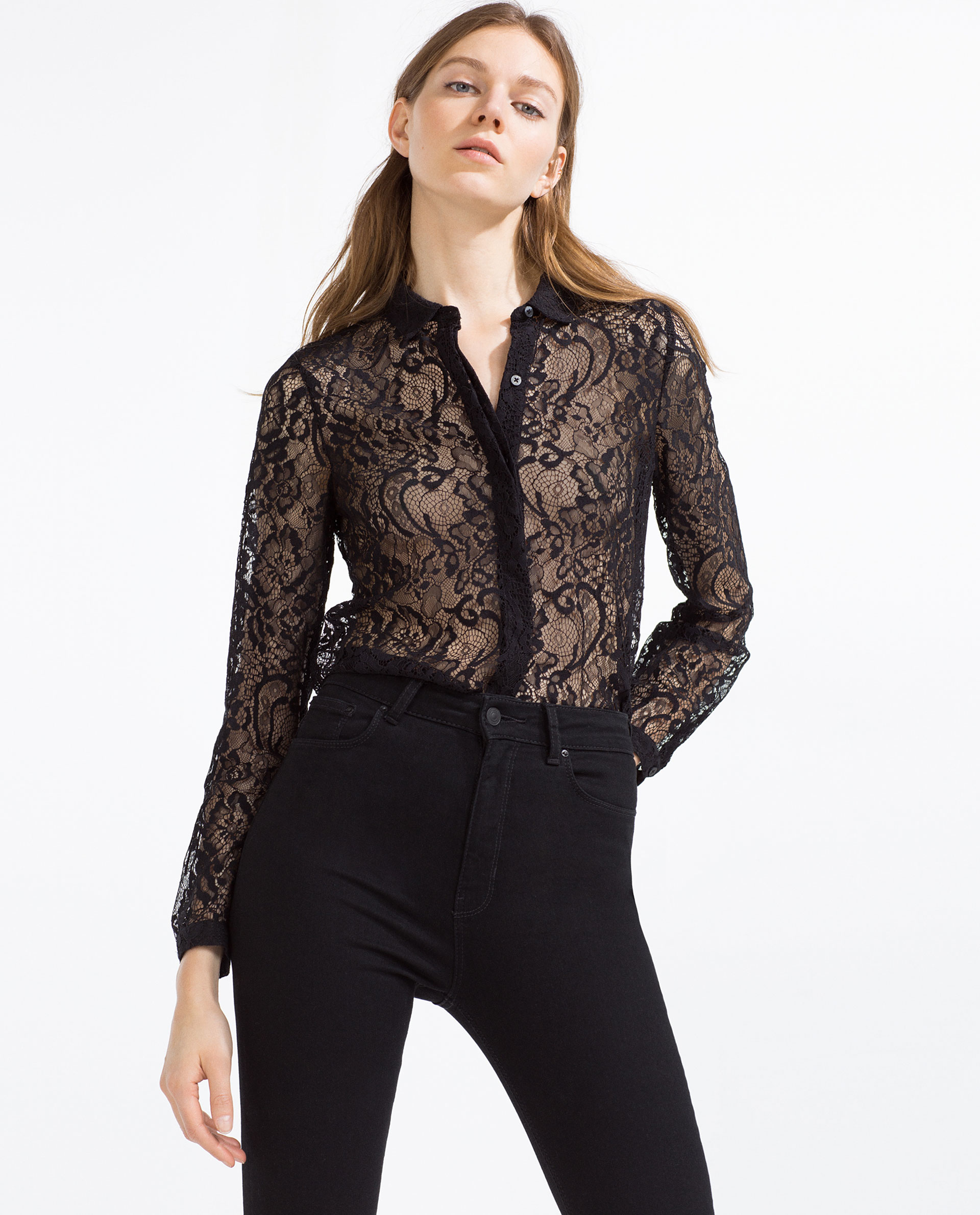 f5d5874406a1bd Black Lace Tops Zara