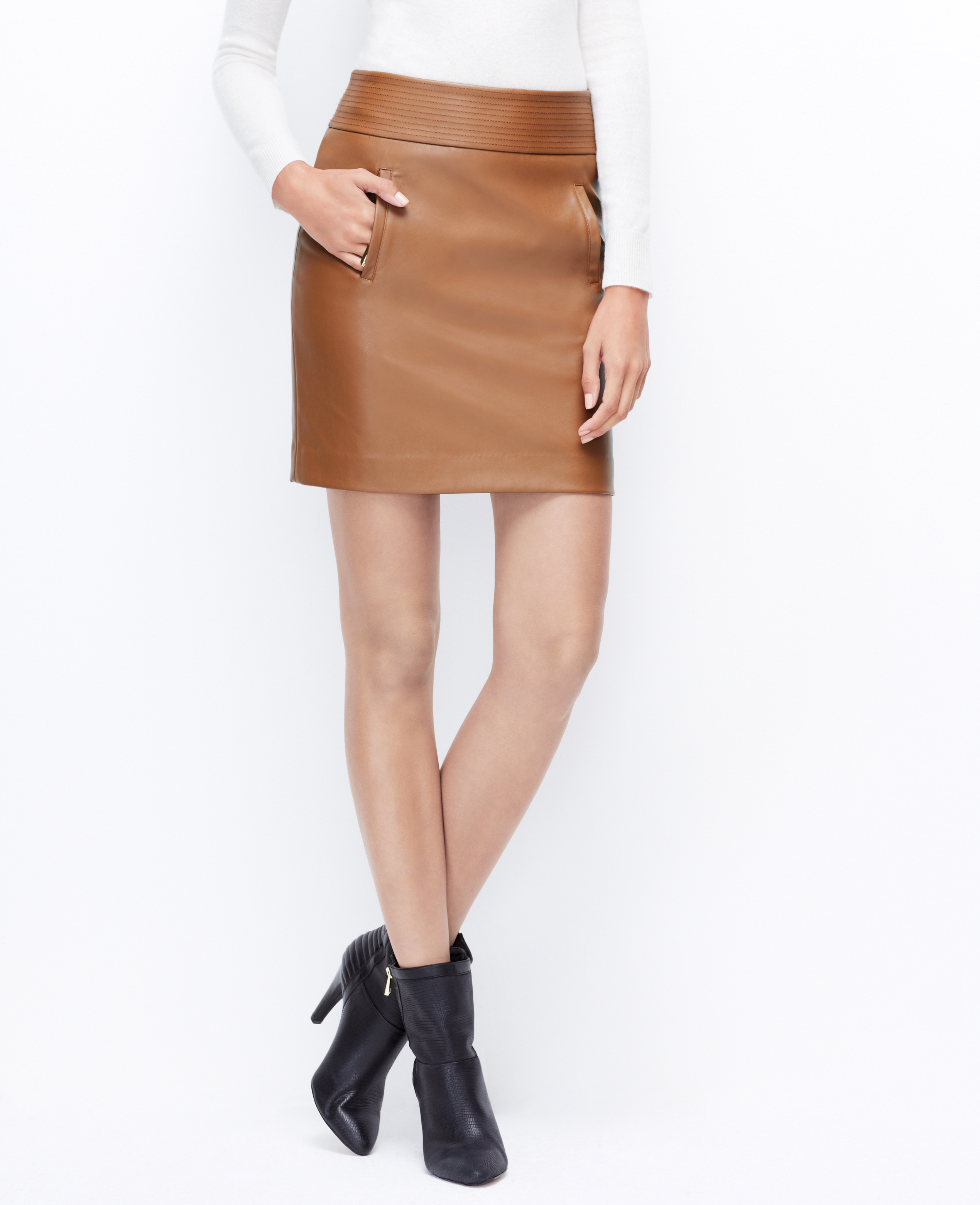 Ann taylor Faux Leather Mini Skirt in Brown | Lyst