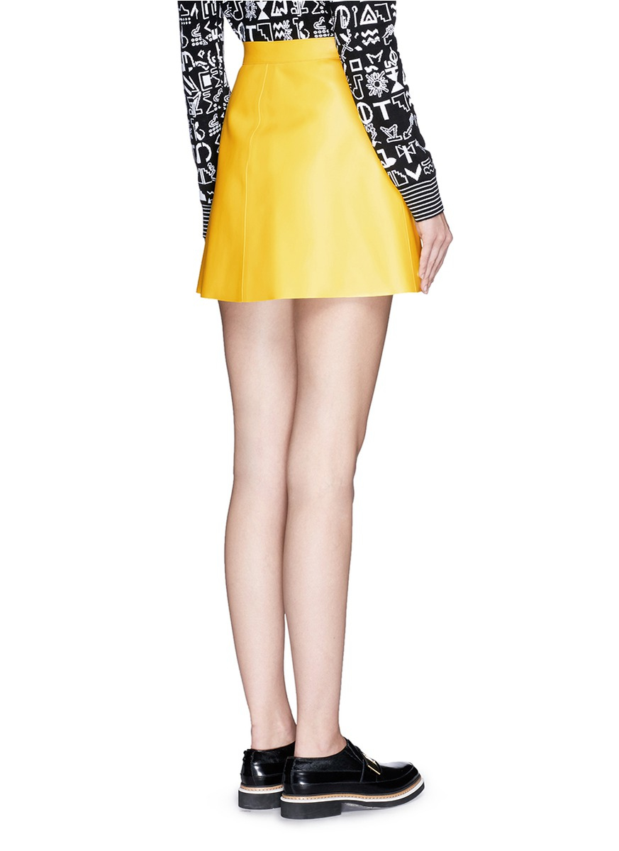 Msgm Faux Leather Mini Skirt in Yellow