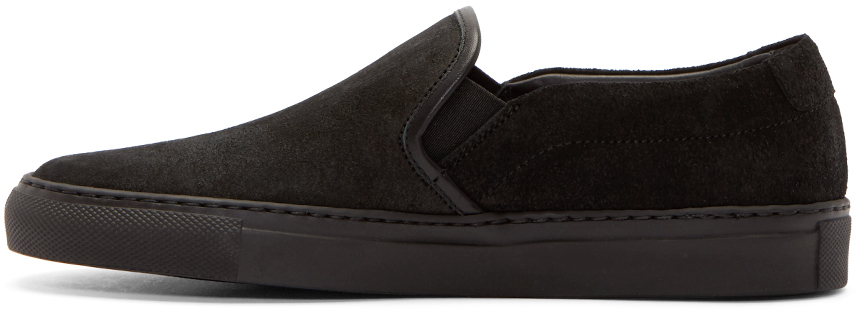 Common Projects Waxed Suede Slip-On Sneakers in Black