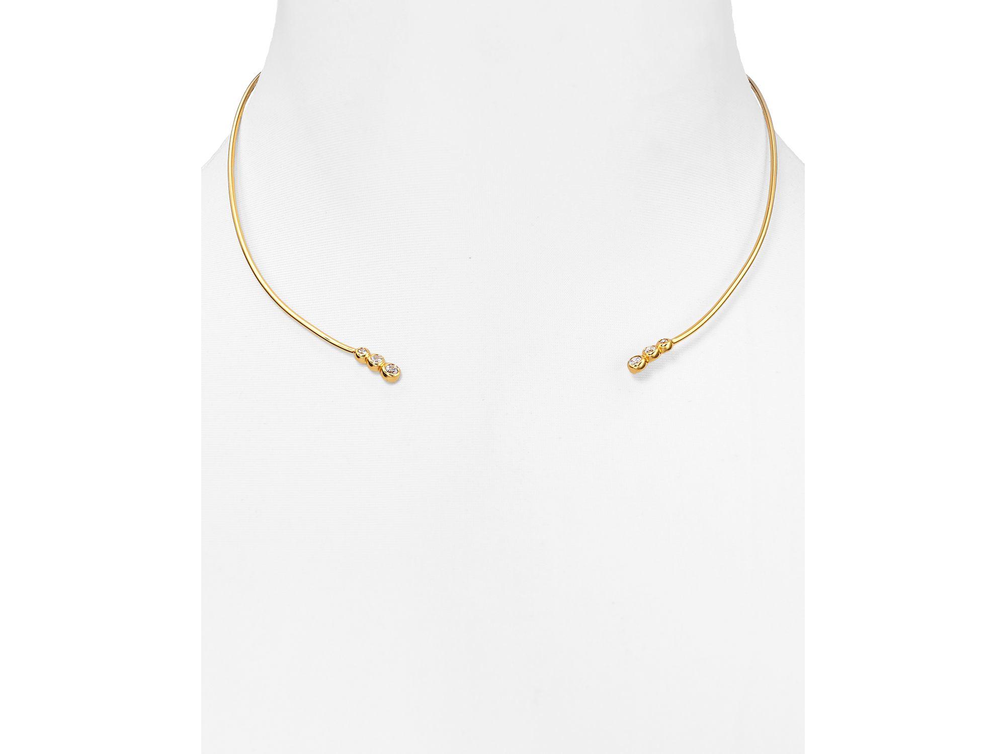 Lyst - Argento Vivo Memory Wire Triple Stone Collar Necklace in Metallic