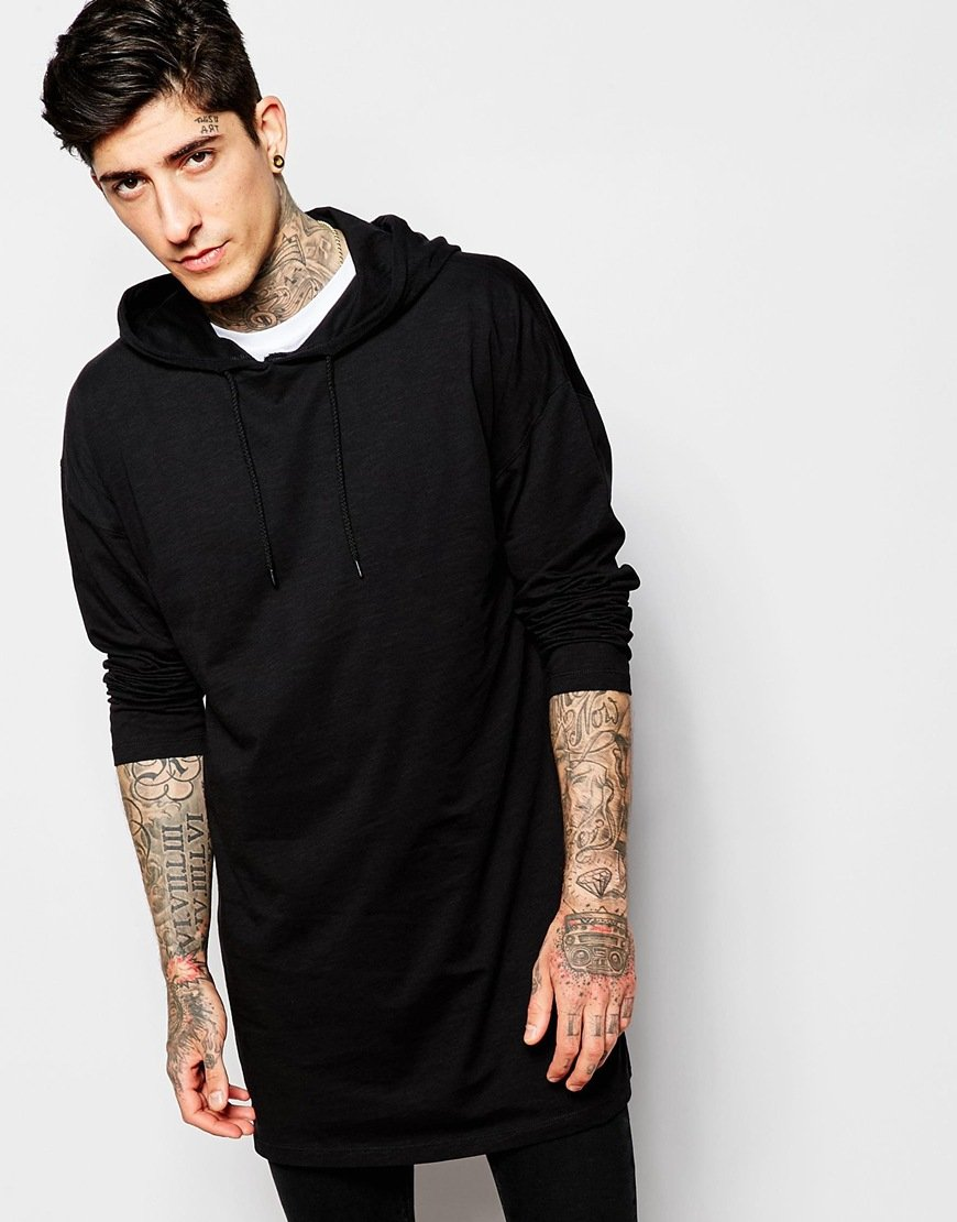 Lyst - Asos Oversized Super Longline Long Sleeve T-shirt With Hood ...