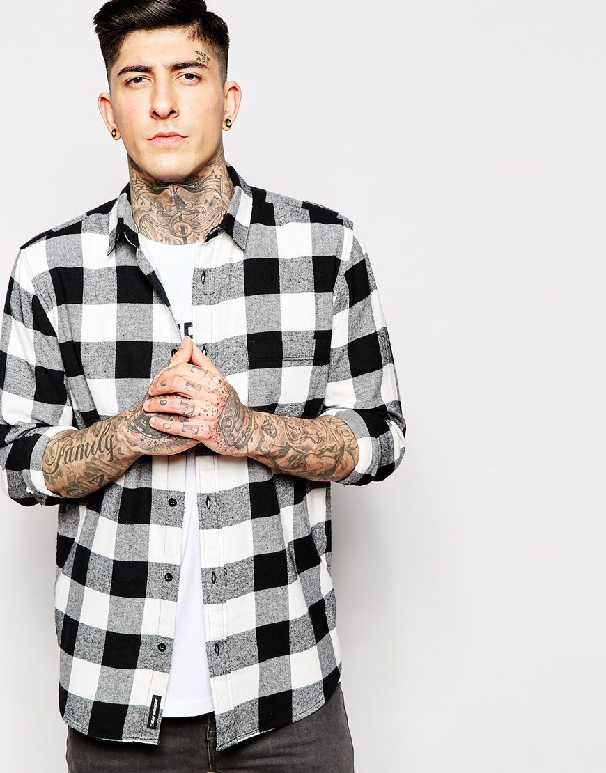 ca191d665a7eb Cheap Monday Shirt Neo Flannel Square Check in White for Men - Lyst