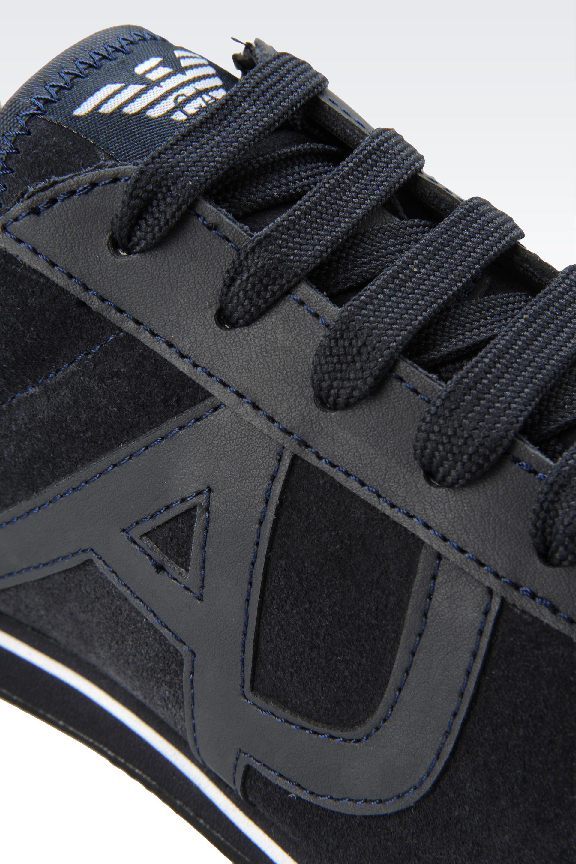 armani jeans sneaker in black for men lyst. Black Bedroom Furniture Sets. Home Design Ideas