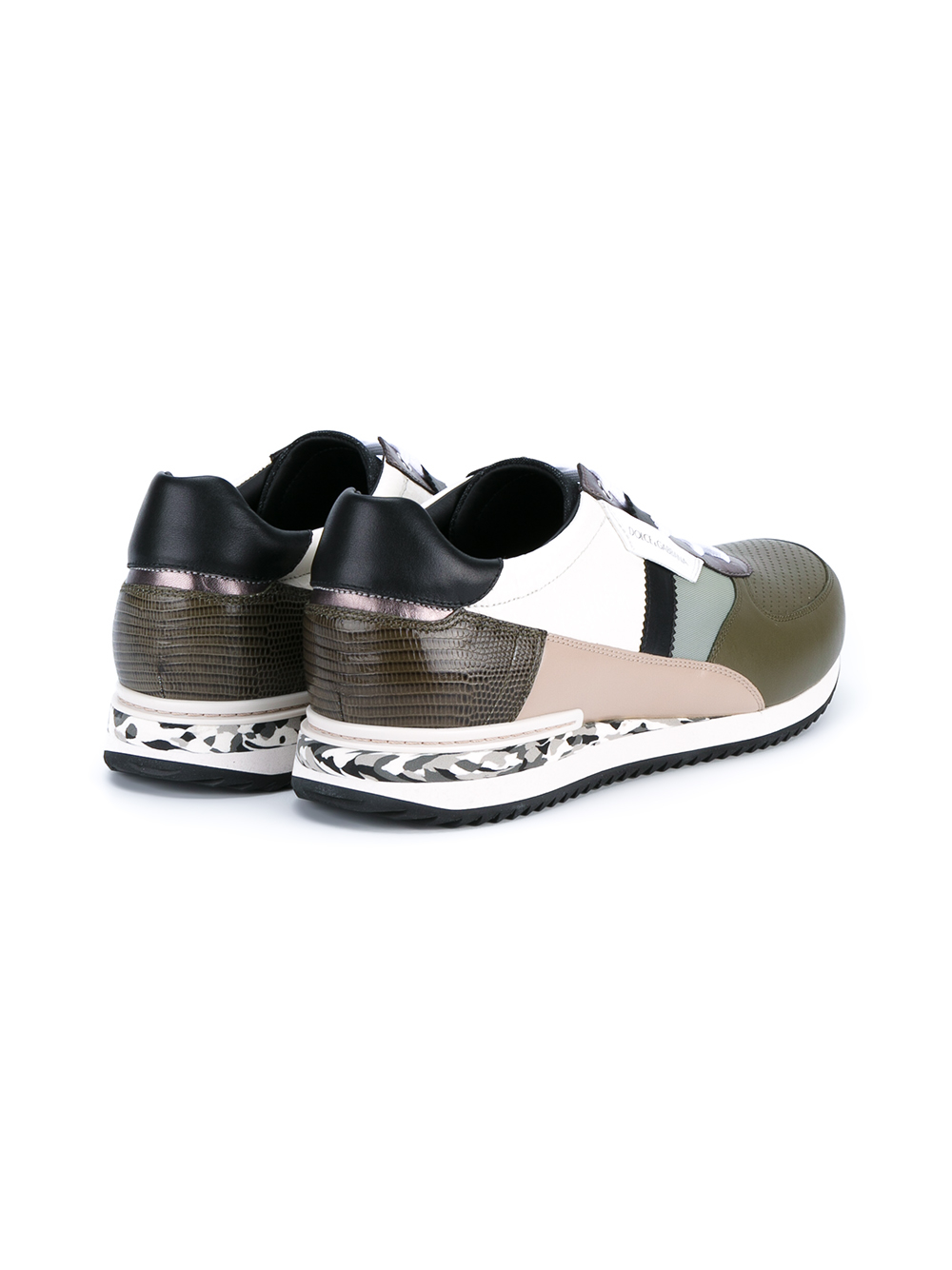 Dolce & Gabbana Leather Panelled Camo Sneakers in Khaki (Natural)
