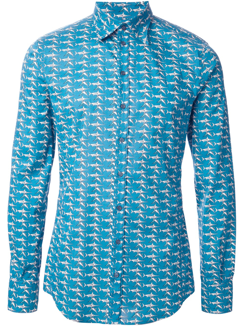 Dolce gabbana sword fish print shirt in blue for men lyst for Fish print shirt