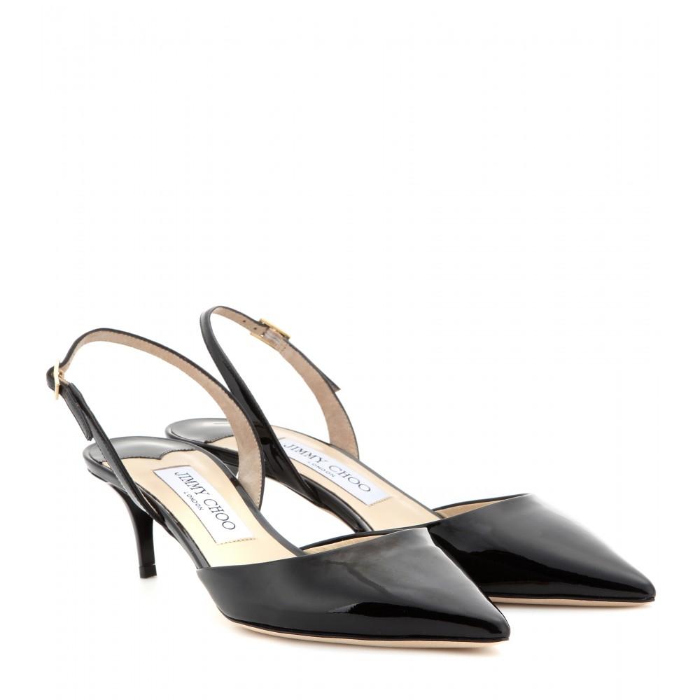 Jimmy choo Tide Patent-leather Kitten-heel Sling-backs in Black | Lyst
