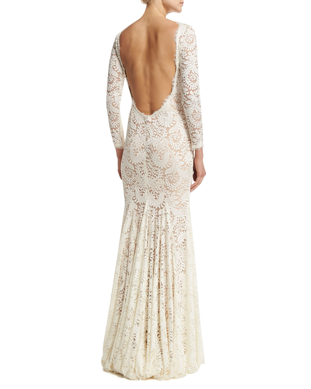 Lyst - Jovani Long-sleeve Lace Mermaid Gown in White