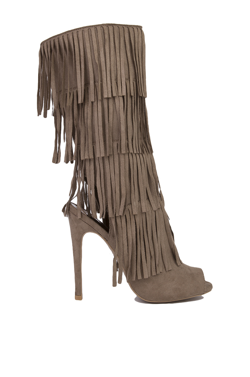 peep toe fringe heeled boots taupe suede in brown