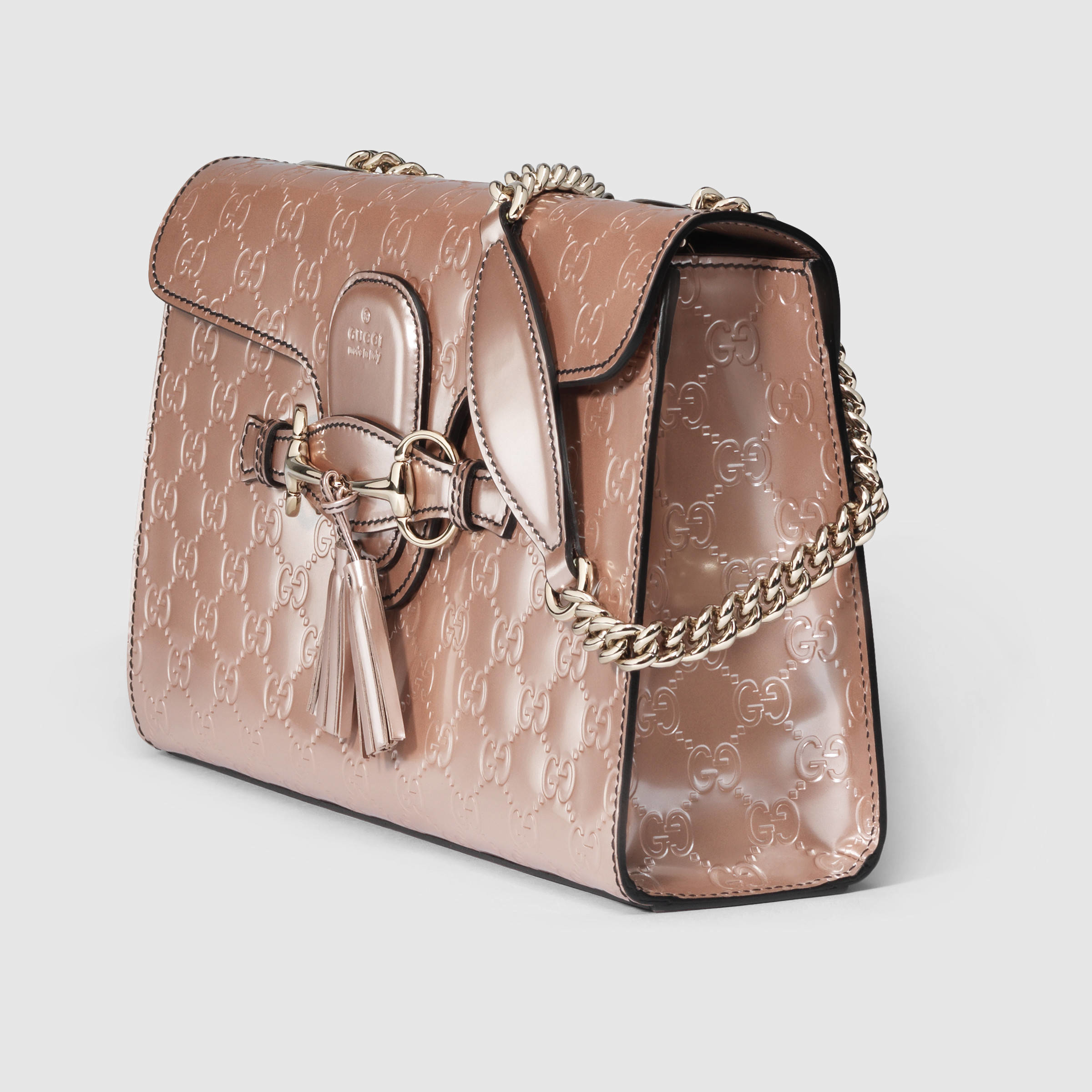 4c2e12baa59 Lyst - Gucci Emily Guccissima Chain Shoulder Bag in Natural