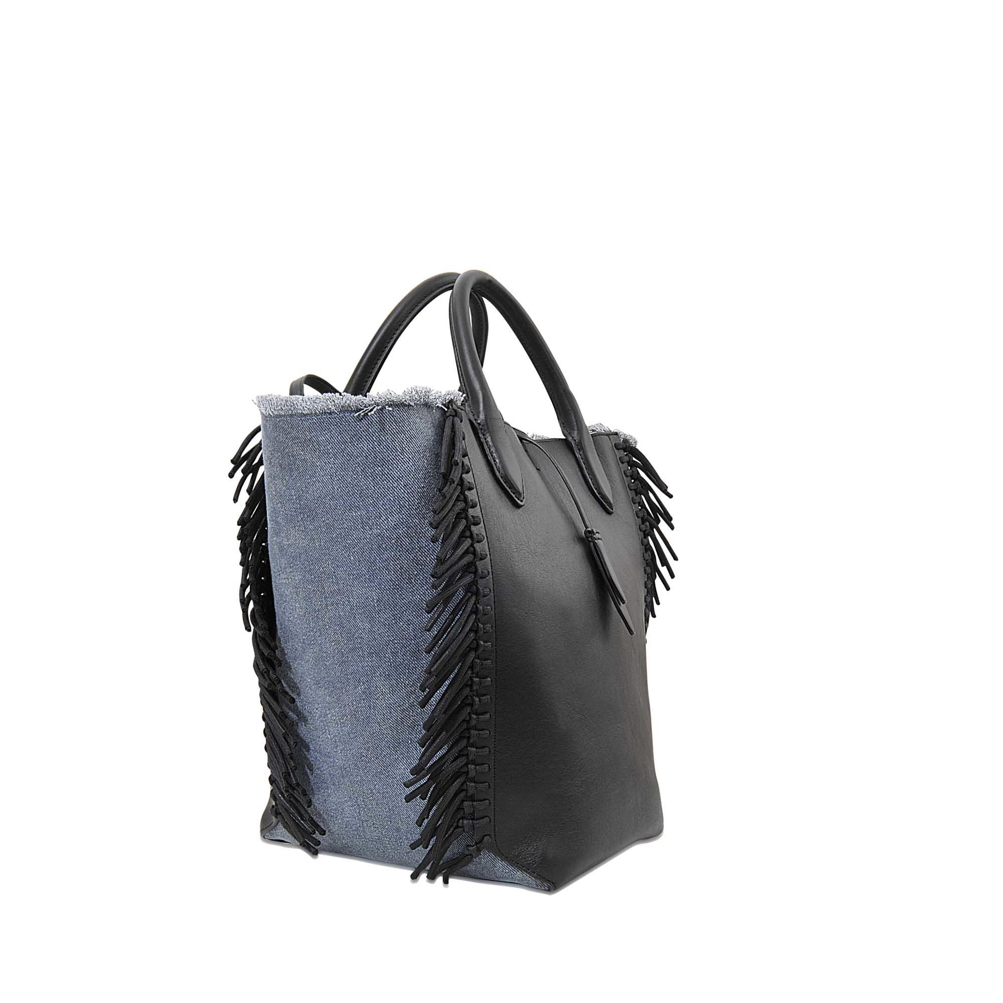 Brilliant 3 1 Phillip Lim Small Bianca Fringe Tote Bag In Black Lyst Short Hairstyles For Black Women Fulllsitofus