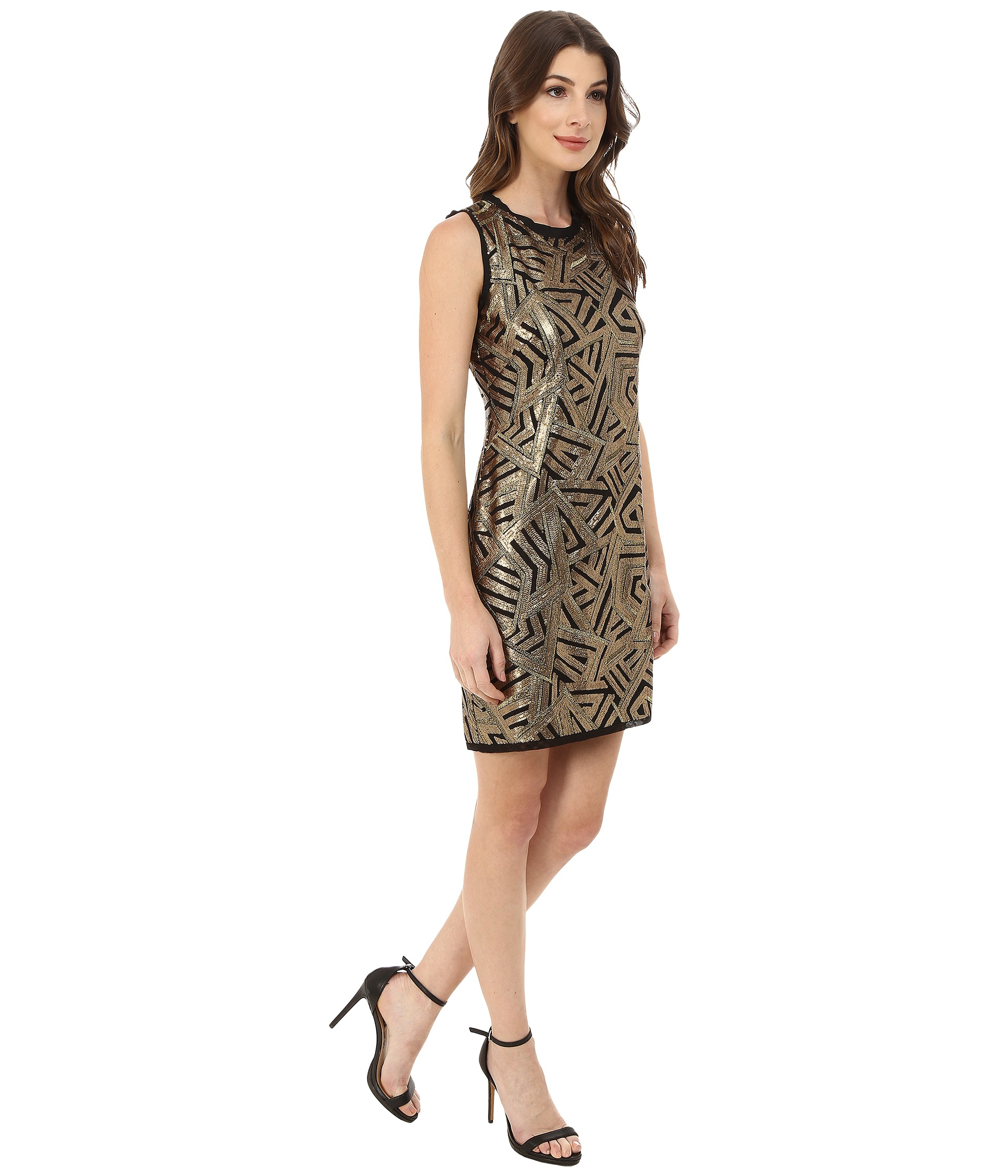 Vince camuto Sleeveless Micro Sequin Sheath Dress in Metallic  Lyst