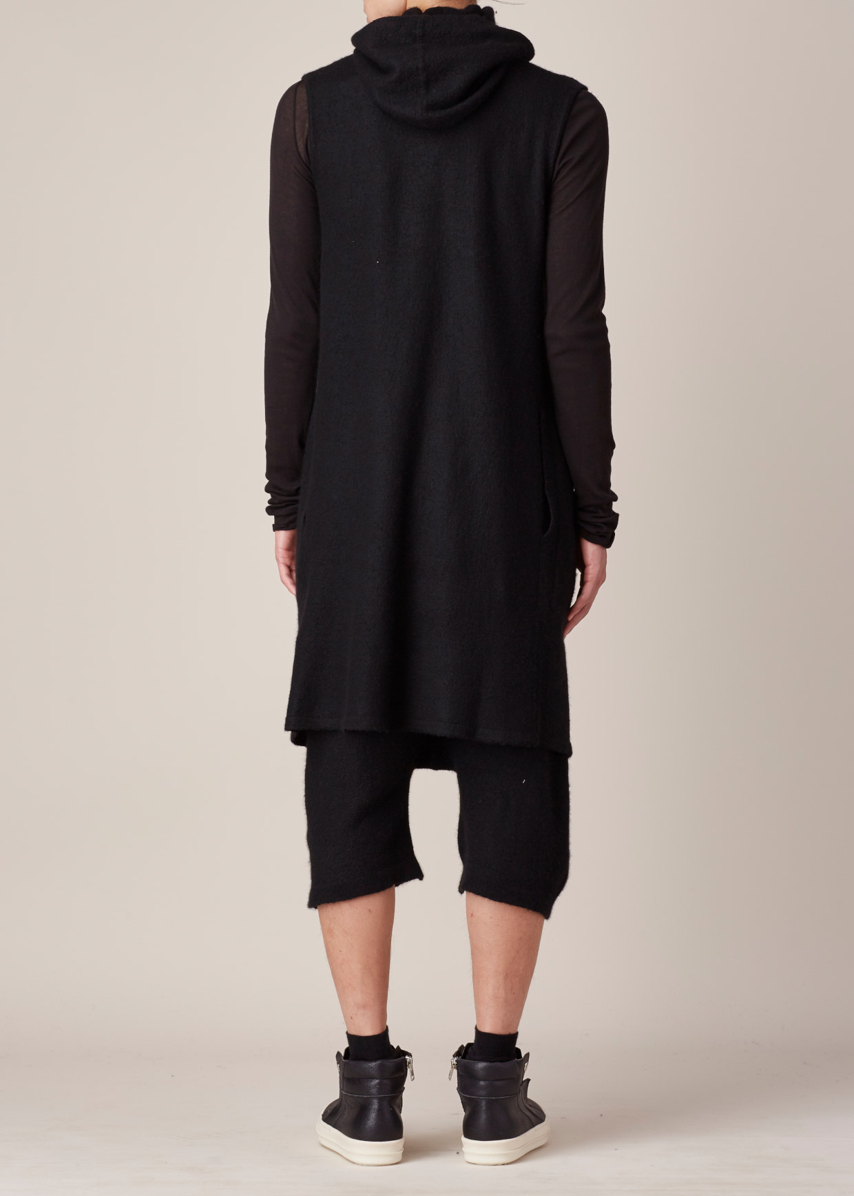 Rick owens Black Sleeveless Hooded Cardigan in Black for Men | Lyst