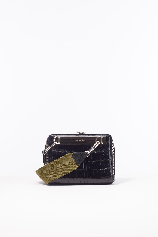 3.1 Phillip Lim Leather Ray Croc Triangle Crossbody in Black