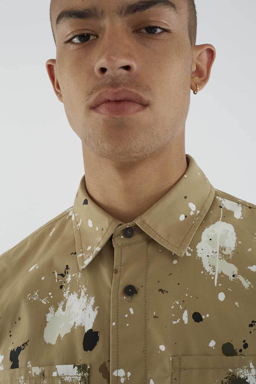 3.1 Phillip Lim Cotton Paint-splattered Shirt in Khaki (Natural) for Men