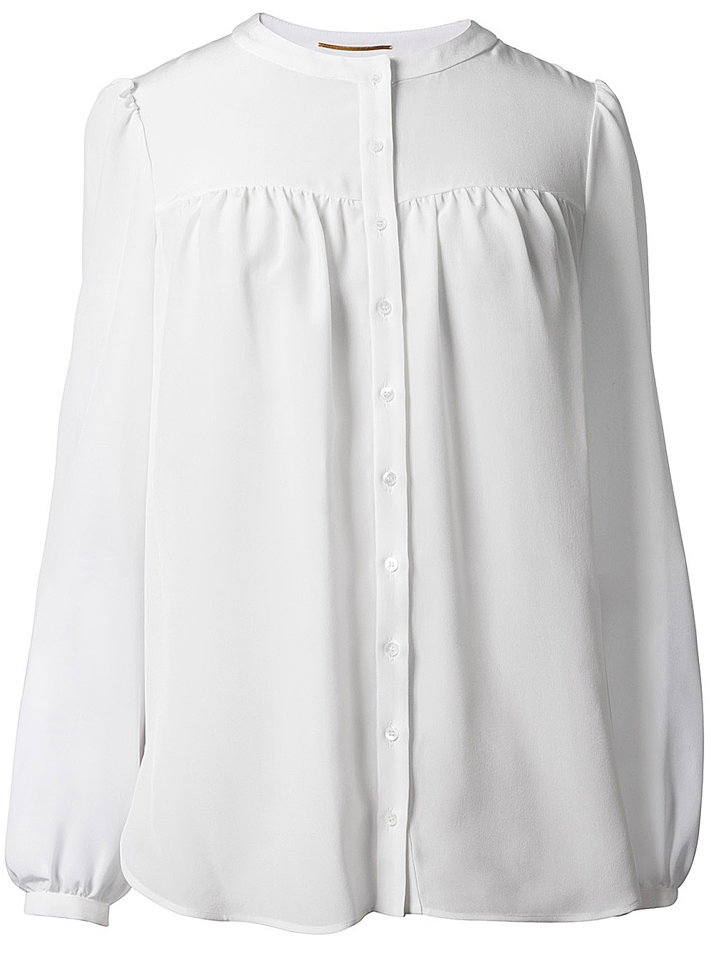 Saint laurent Long Sleeve Blouse in White | Lyst