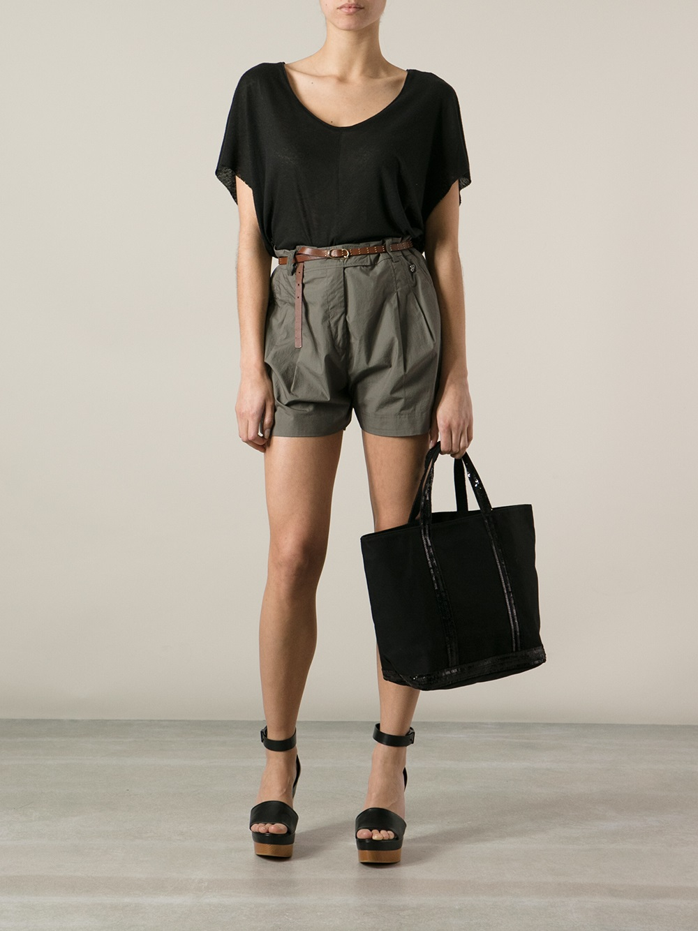vanessa bruno cabas small shopper in black lyst. Black Bedroom Furniture Sets. Home Design Ideas