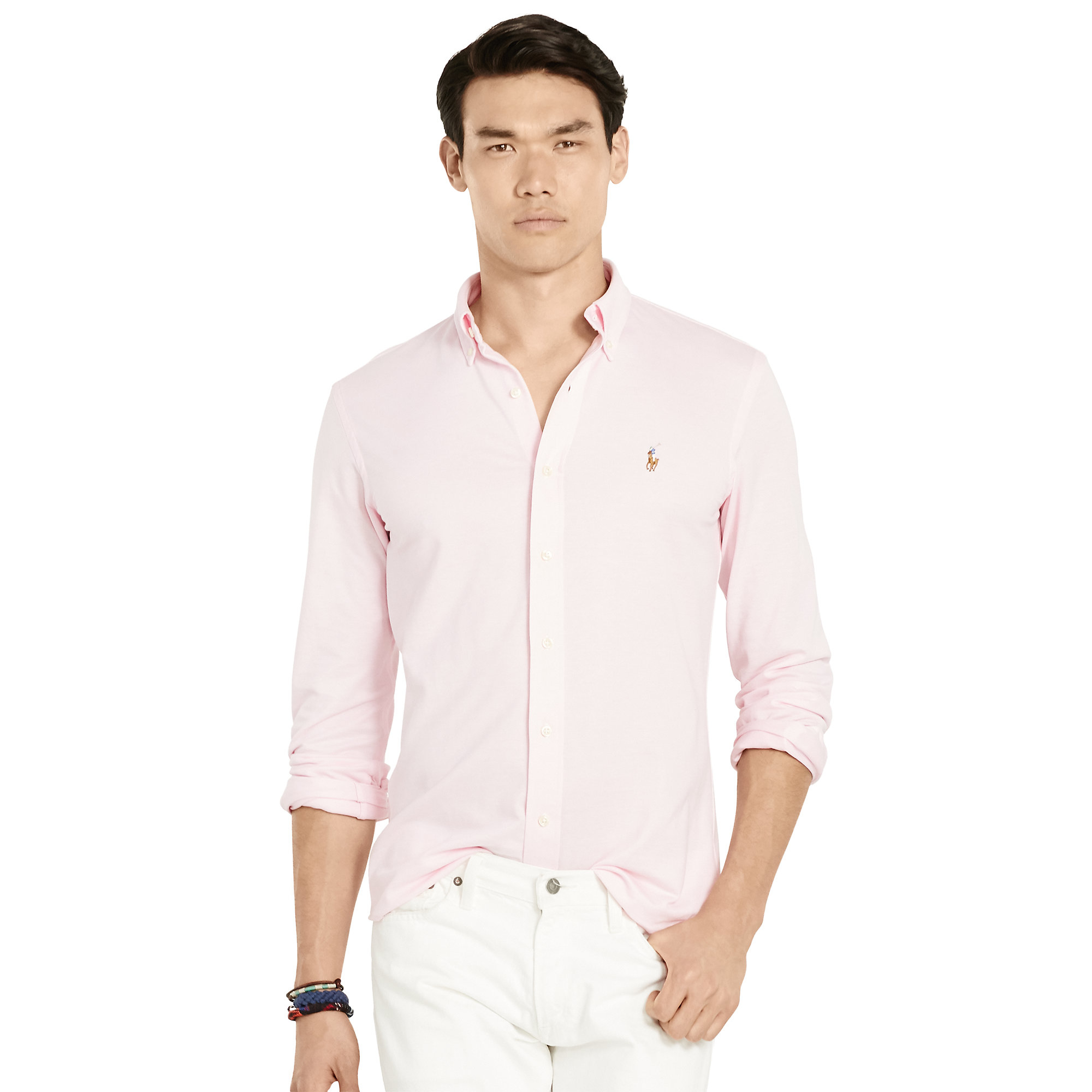 polo ralph lauren slim fit knit oxford in pink for men lyst. Black Bedroom Furniture Sets. Home Design Ideas