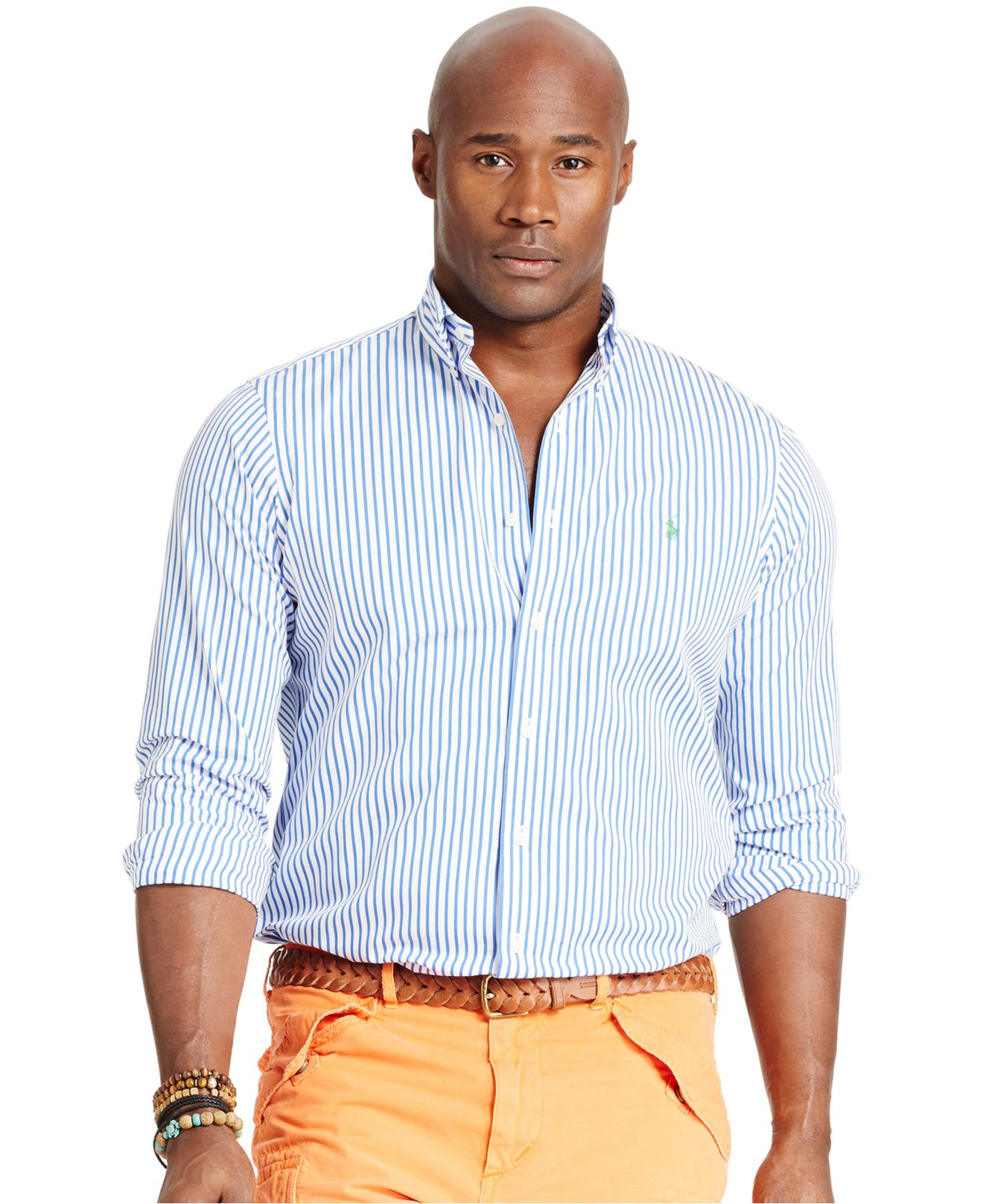 Lyst polo ralph lauren big tall bengal striped poplin for Tall ralph lauren polo shirts