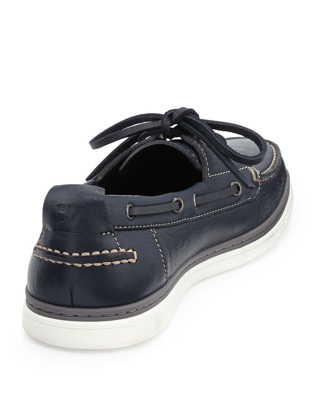 Ermenegildo Zegna Leather Boat Shoe In Blue For Men Lyst