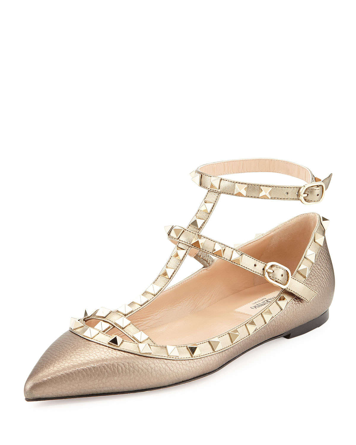 valentino rockstud caged leather ballet flats in gold sasso lyst. Black Bedroom Furniture Sets. Home Design Ideas