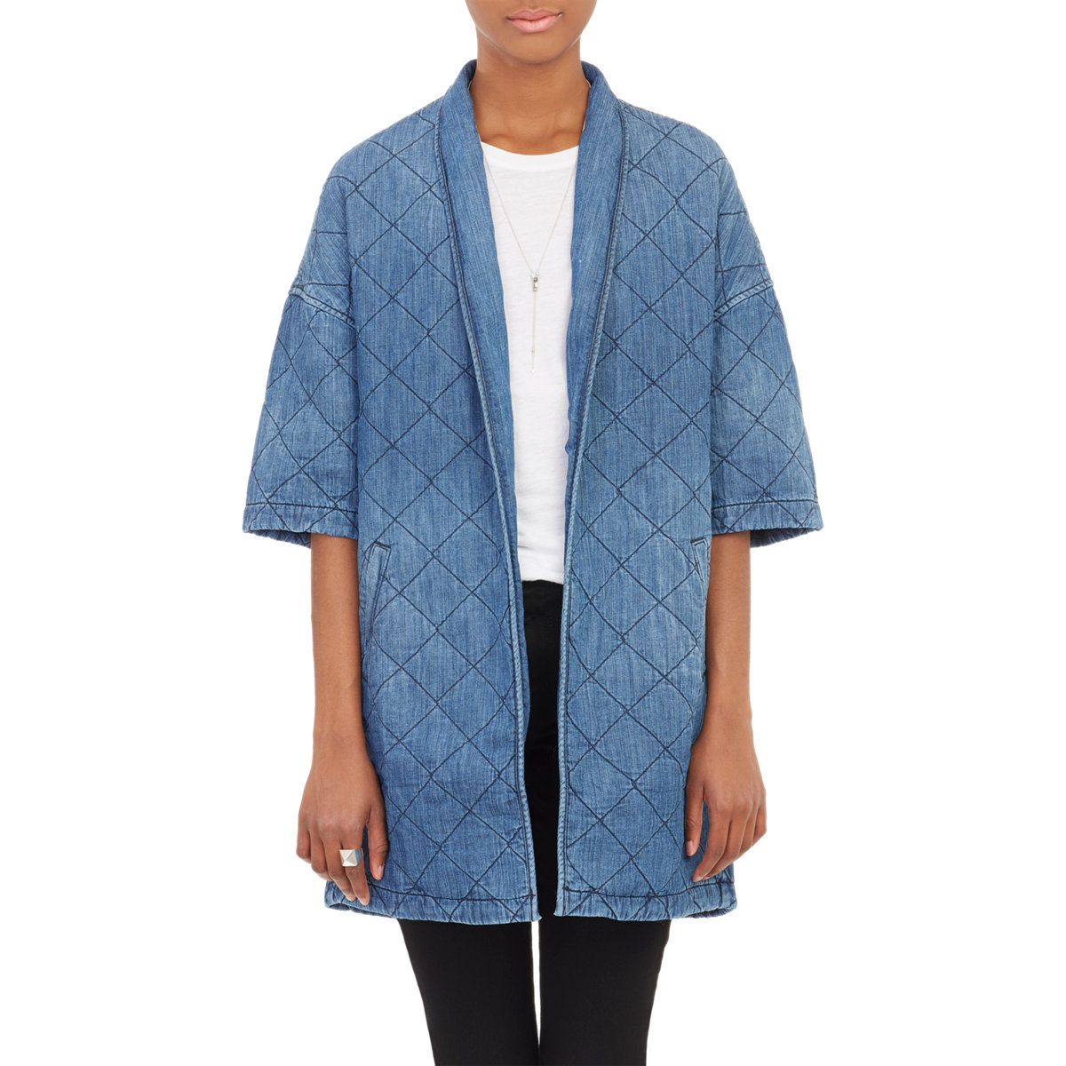 Lyst Current Elliott The Quilted Car Coat In Blue