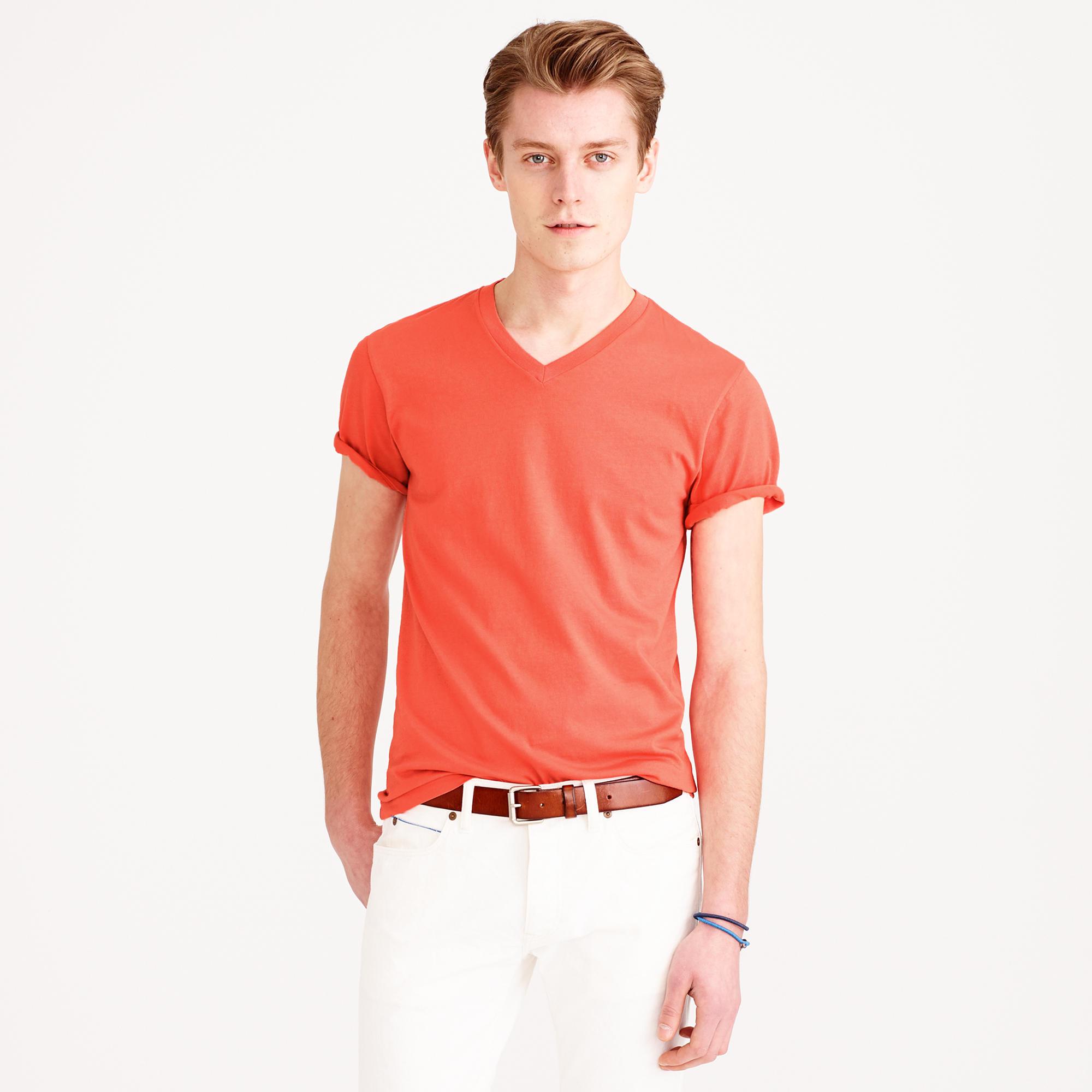 Tall broken in v neck t shirt in orange for men lyst for Mens tall v neck t shirts