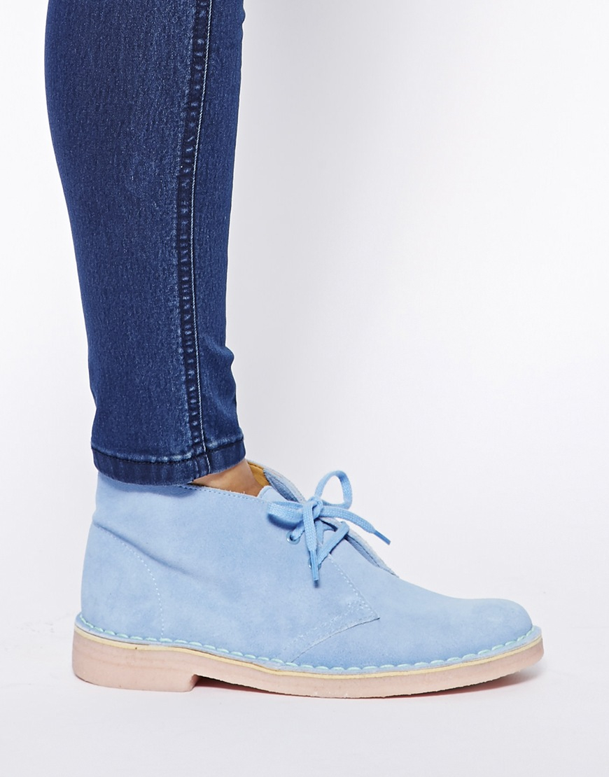 clarks pale blue suede boots in blue lyst