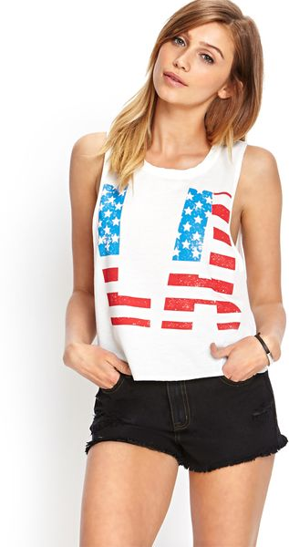 Forever 21 Americana La Muscle Tee in White (Ivory/red)