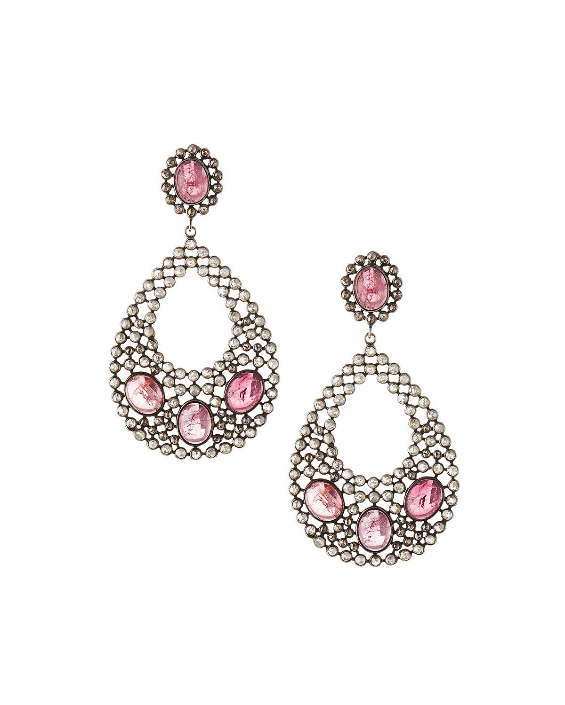 Bavna Pink Tourmaline & Diamond Hoop Earrings 3QDcr4