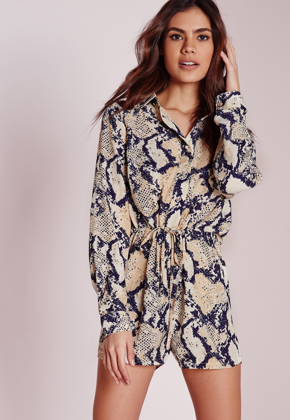 6cabb1d1e3a Lyst - Missguided Snake Print Long Sleeve Shirt Playsuit Multi