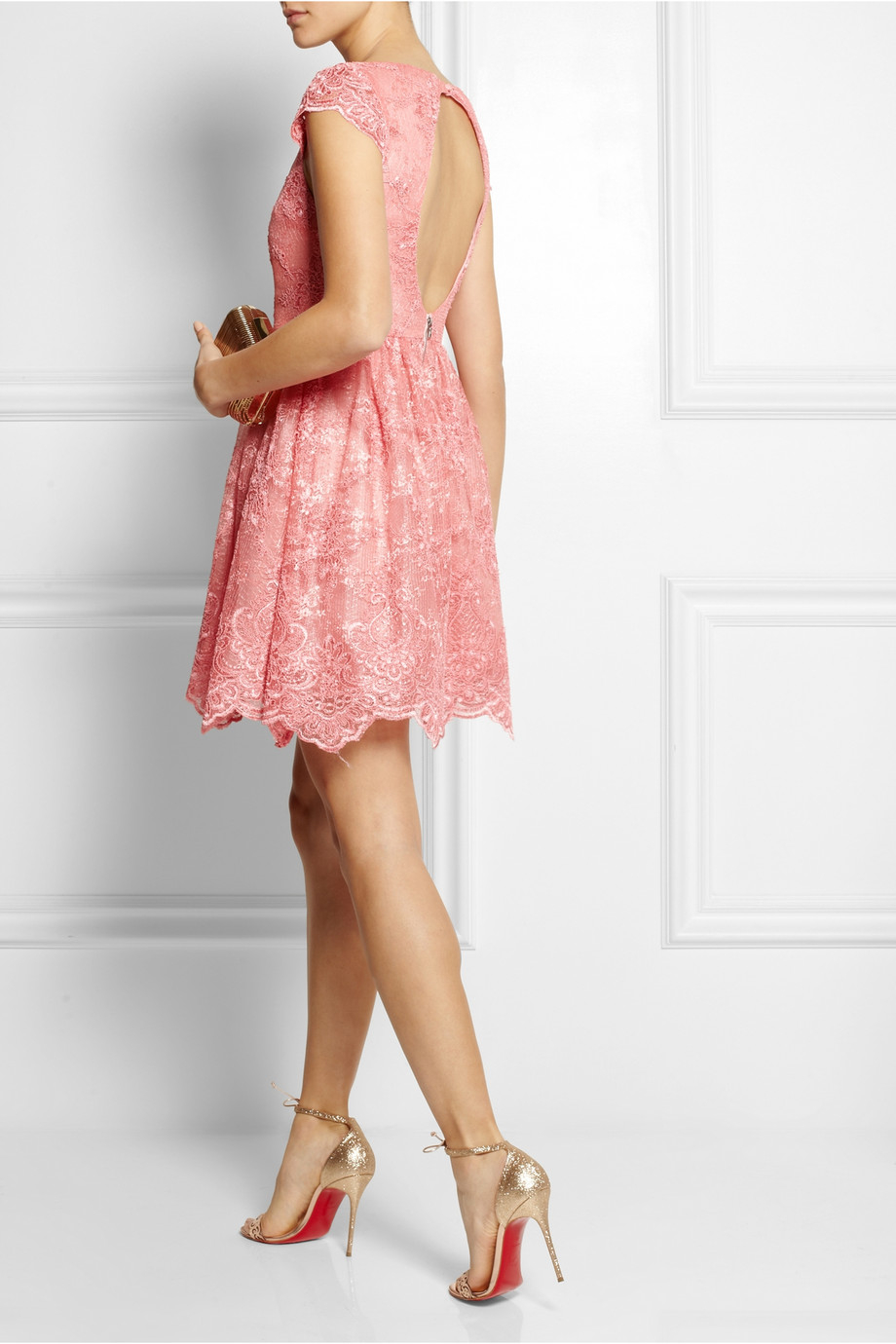 Alice Olivia Zenden Embroidered Lace Mini Dress In Pink