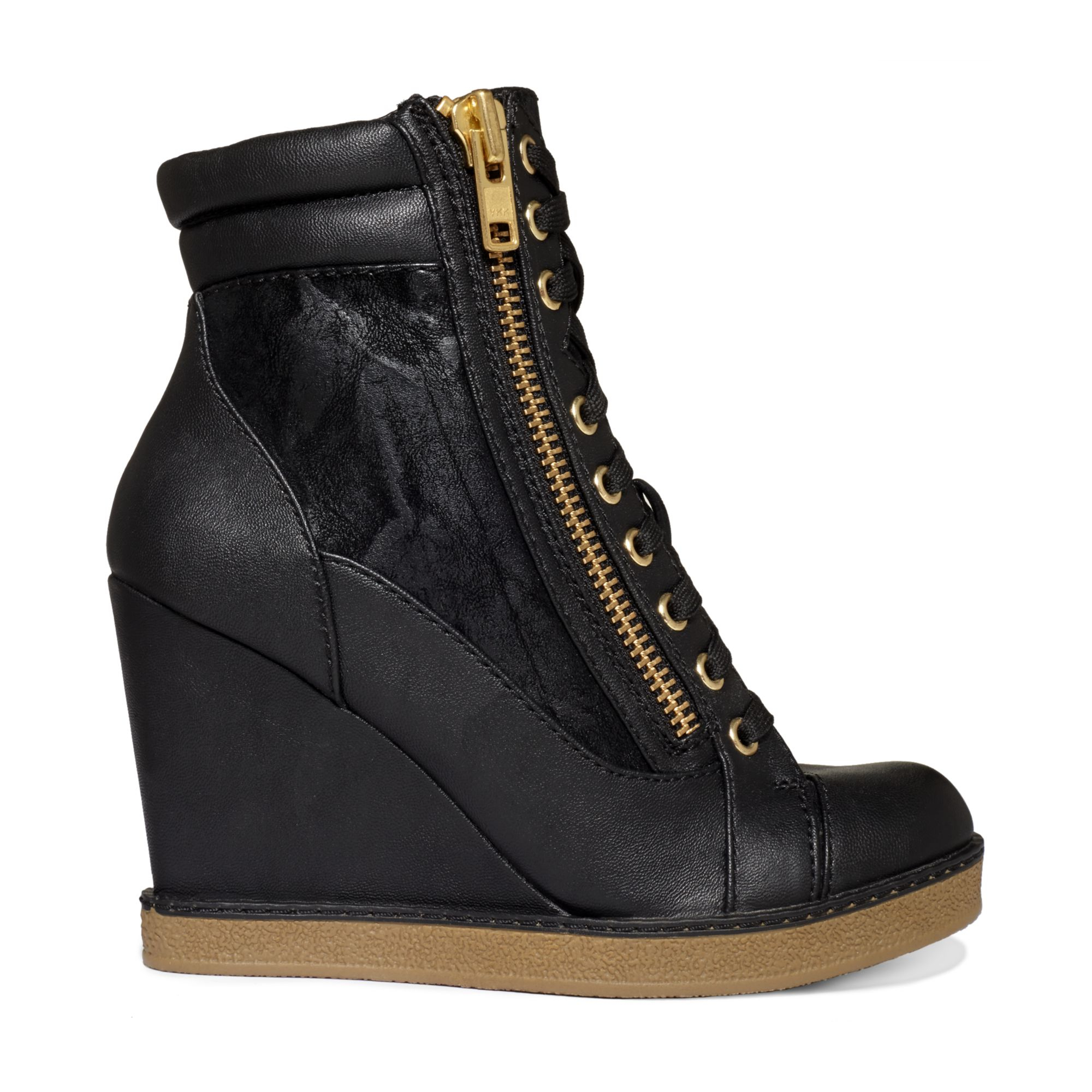 report fife lace up wedge booties in black lyst