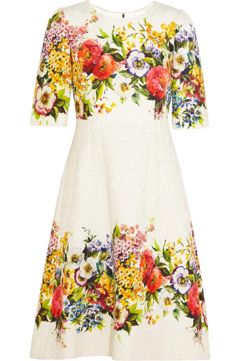 Lyst - Dolce & Gabbana Floral-Brocade Dress in White
