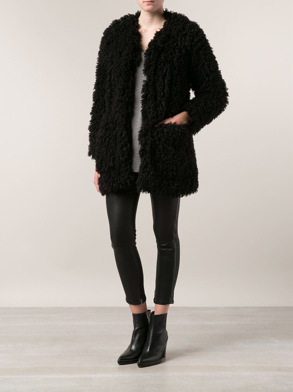 Smythe Fuzzy Jacket In Black Lyst