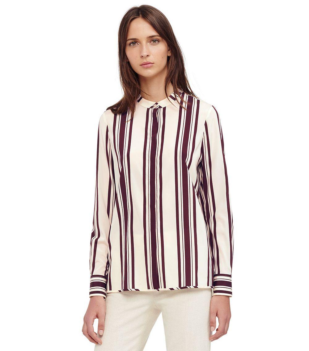 Tory burch stretch silk button down shirt in purple lyst for Tory burch button down shirt