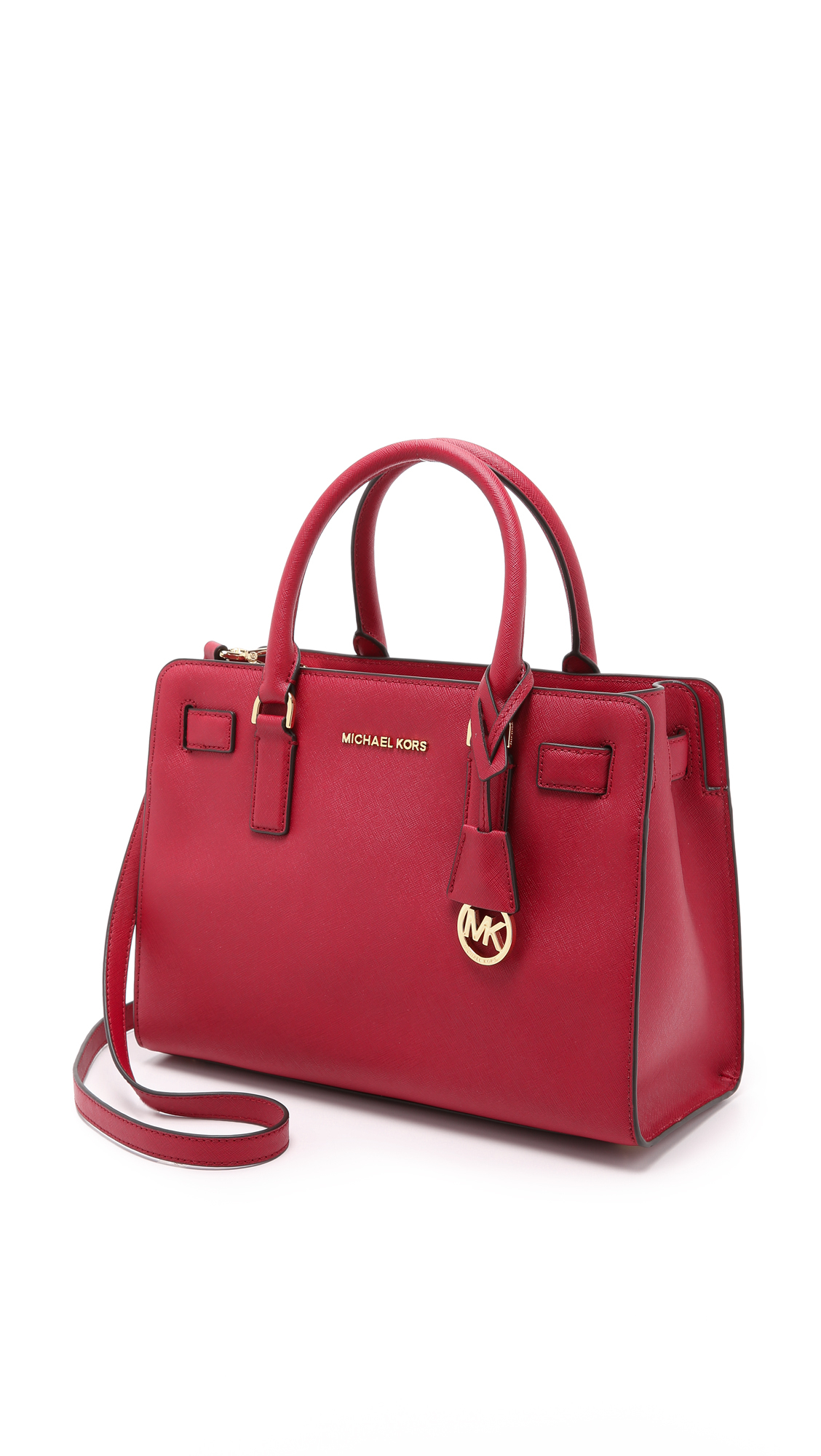 64e0abecc9075c ... Lyst - Michael Michael Kors Dillon Satchel in Red ...