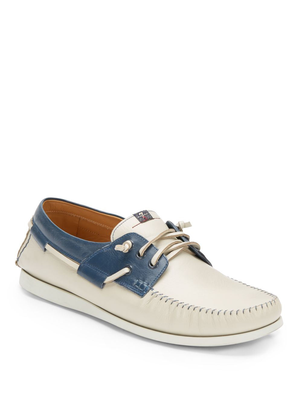 7 for all mankind white and blue leather moc toe harry