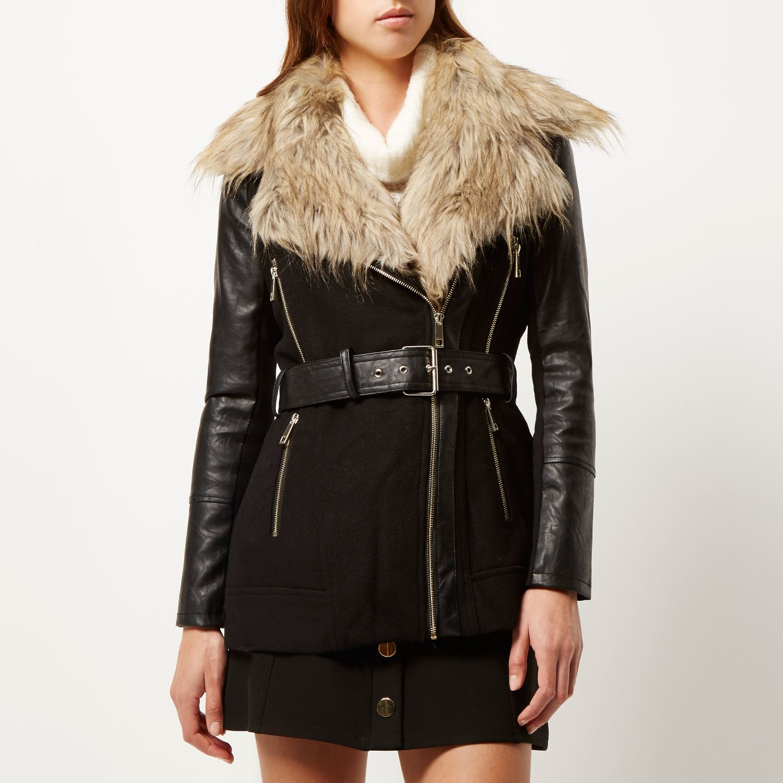 River island Black Faux-fur Collar Winter Coat in Black | Lyst