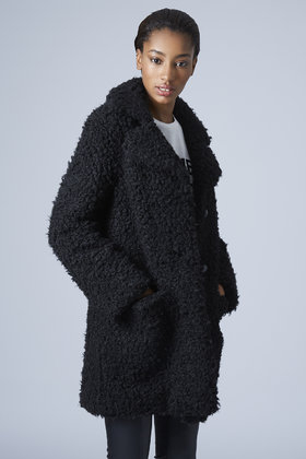 wholesale offer discounts look out for TOPSHOP Black Faux Fur Teddy Coat