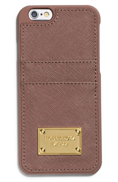 michael michael kors card holder iphone 6 6s case in brown dusty. Black Bedroom Furniture Sets. Home Design Ideas