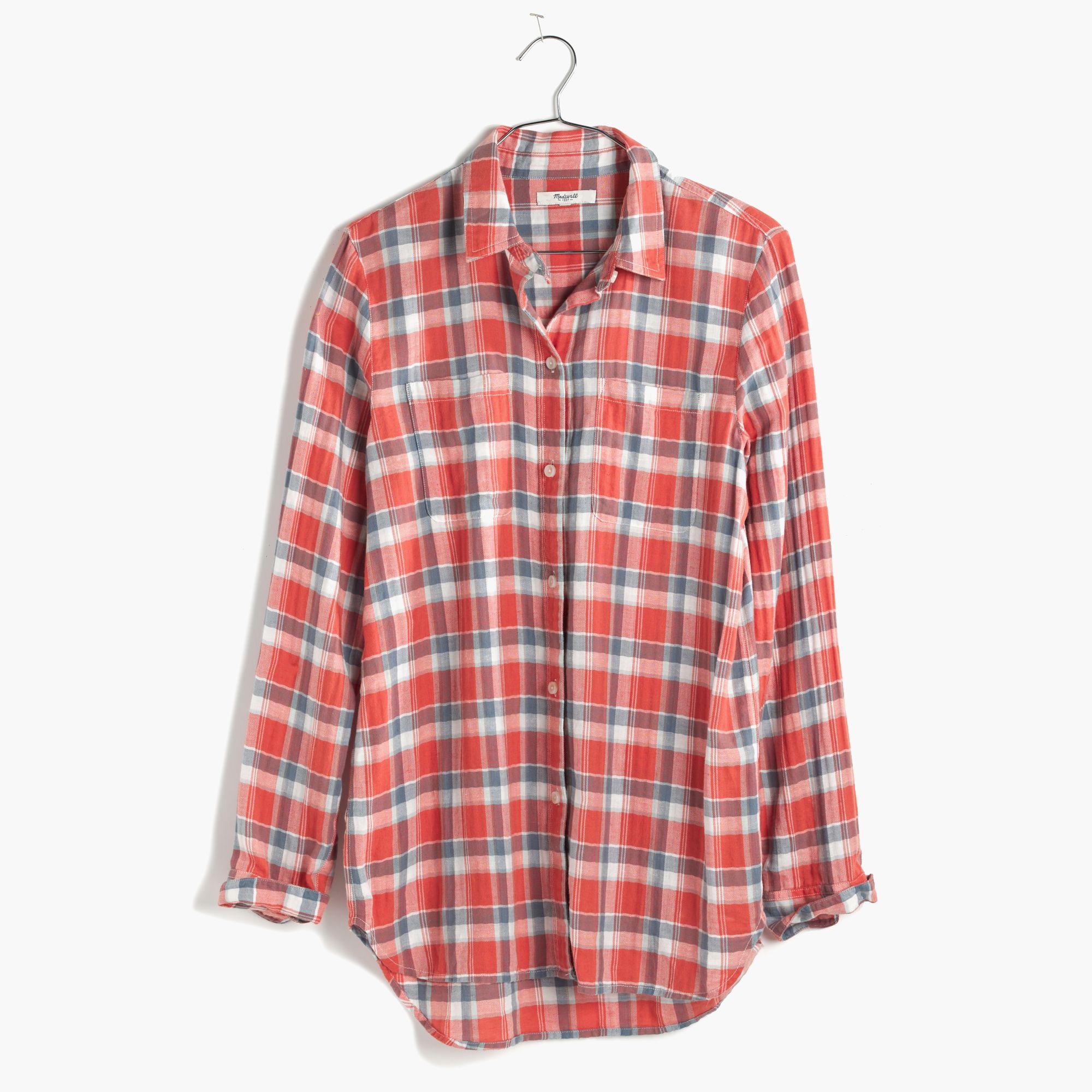 Madewell Ex Boyfriend Shirt In Orange Plaid In Red Lyst