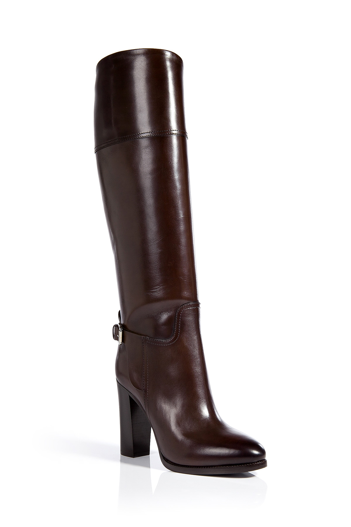 Ralph Lauren Collection Leather Tall Boots In Brown Lyst