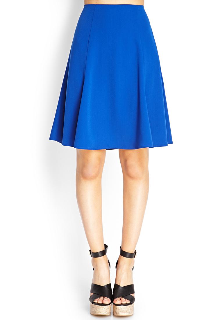 forever 21 flare knee length skirt in blue royal lyst