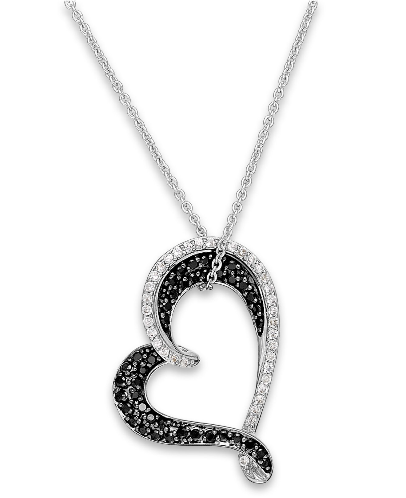 Macy s Black And White Diamond Heart Pendant Necklace In Sterling