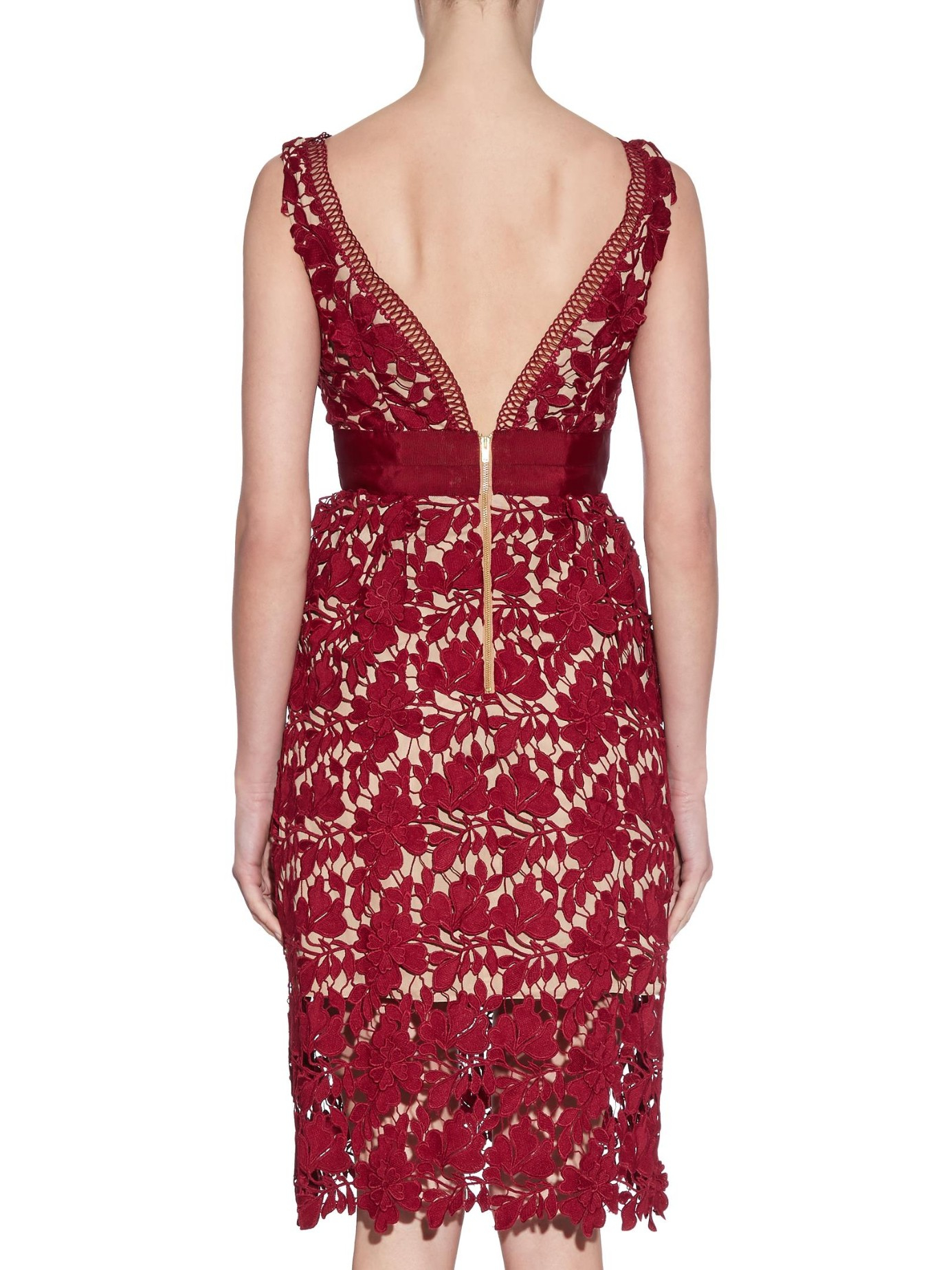bbdfb019d0727 Lyst - Self-Portrait Floral-Lace Midi Dress in Red