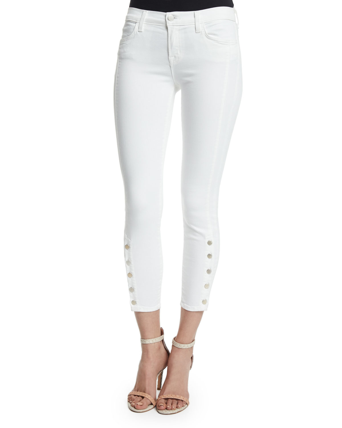 J brand Suvi Mid-rise Utility Cropped Jeans in White | Lyst