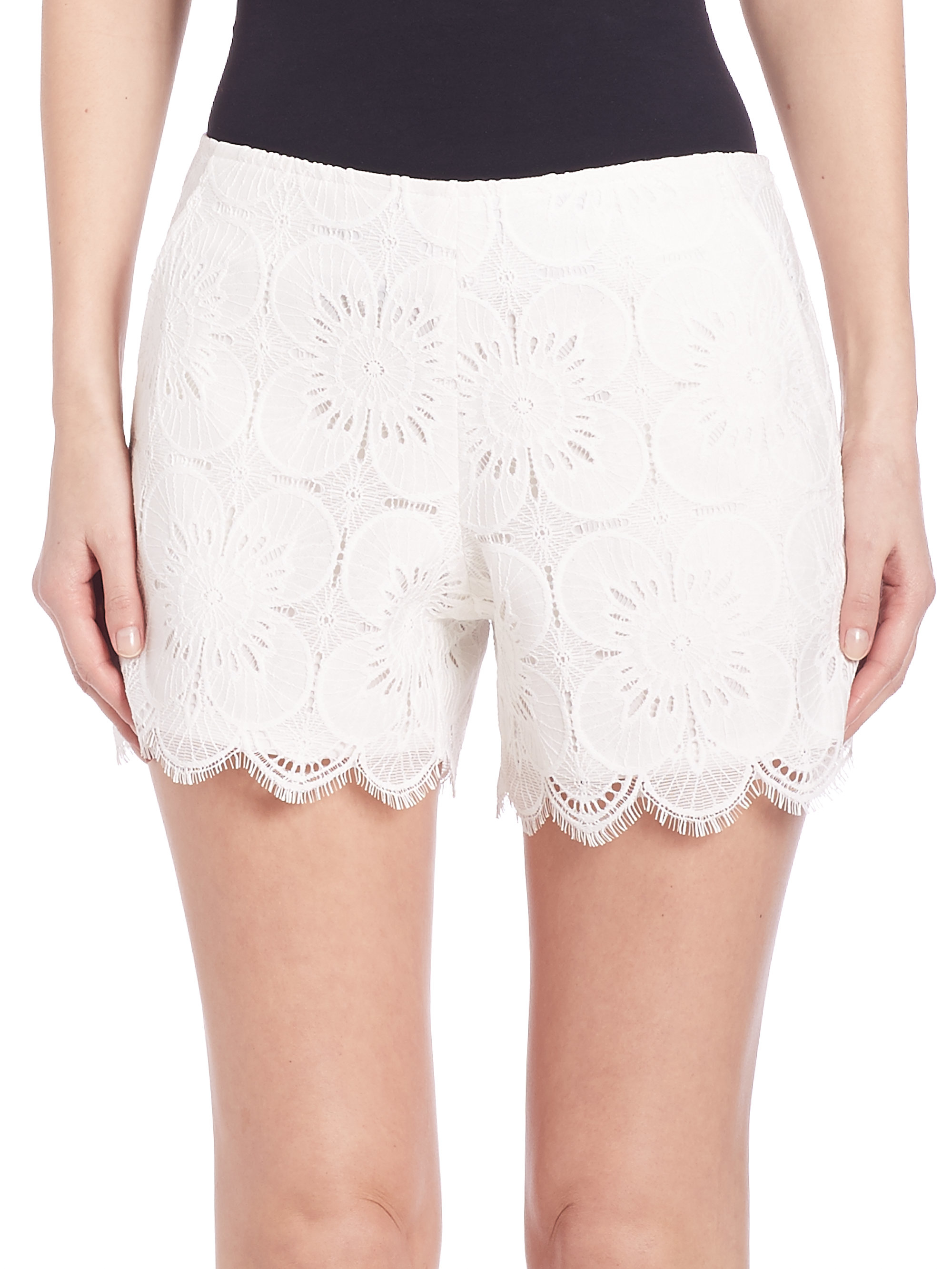 Lyst - Trina turk Lace Shorts in White
