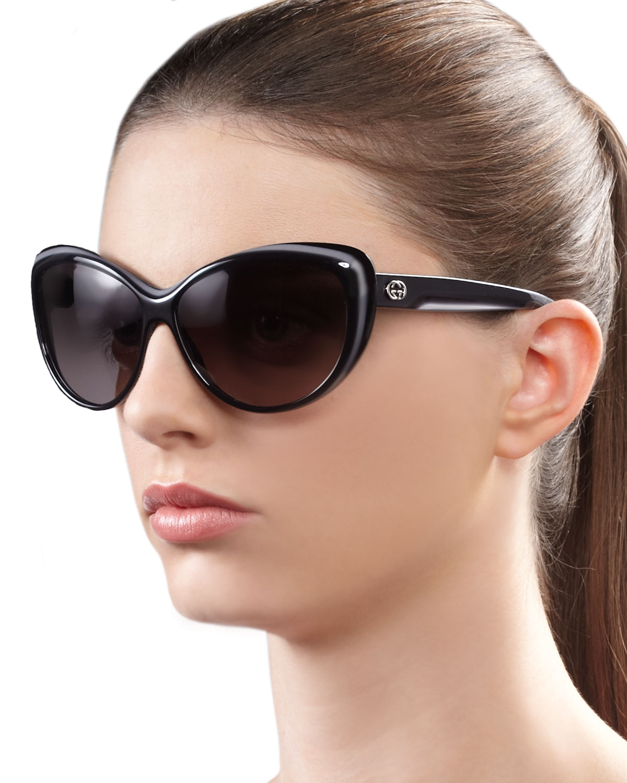 Gucci Cat Eye Sunglasses  gucci round cat eye sunglasses in gray lyst